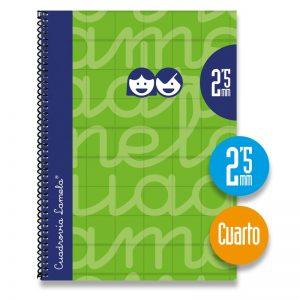 Cuaderno espiral cuarto 80 hojas. Cubierta extra dura VERDE. Cuadrovía 2,5mm.
