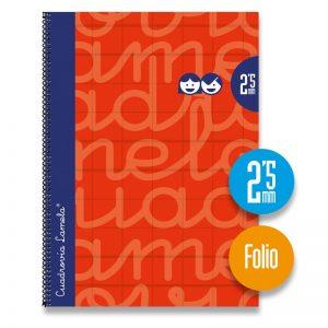 Cuaderno espiral FOLIO 80 hojas. Cubierta extra dura ROJO Cuadrovía 2,5mm.
