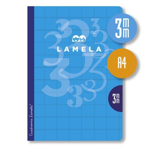 Libreta grapa A4 50 hojas. Cubierta cartoncillo plastificado. Cuadrovía 3 mm.