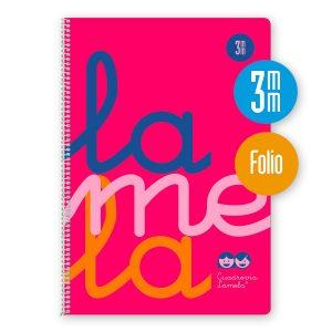 Cuaderno espiral Folio 80 hojas. Cubierta polipropileno fluor. ROSA. Cuadrovía 3mm.