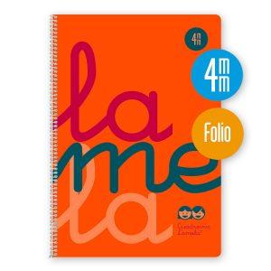 Cuaderno espiral Folio 80 hojas. Cubierta polipropileno fluor. NARANJA. Cuadrovía 4mm.
