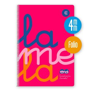 Cuaderno espiral Folio 80 hojas. Cubierta polipropileno fluor. ROSA. Cuadrovía 4mm.