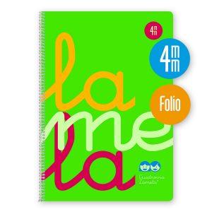 Cuaderno espiral Folio 80 hojas. Cubierta polipropileno fluor. VERDE. Cuadrovía 4mm.