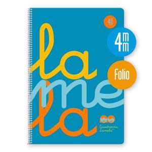 Cuaderno espiral Folio 80 hojas. Cubierta polipropileno fluor. AZUL. Cuadrovía 4mm.