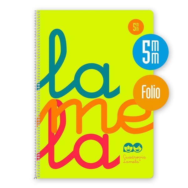 Cuaderno espiral Folio 80 hojas. Cubierta polipropileno fluor. AMARILLO. Cuadrovía 5mm.