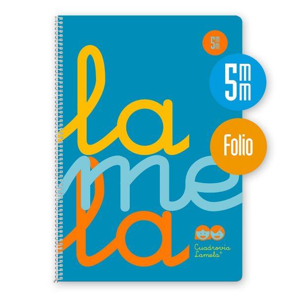 Cuaderno espiral Folio 80 hojas. Cubierta polipropileno fluor. AZUL. Cuadrovía 5mm.