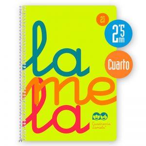 Cuaderno espiral cuarto 80 hojas, 90 grs. Cubierta polipropileno flúor. AMARILLO. Cuadrovía 2,5mm.