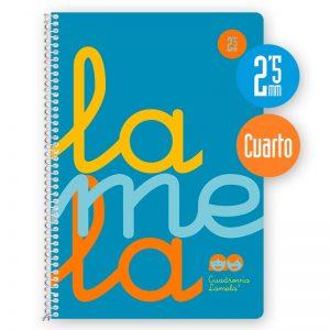Cuaderno espiral cuarto 80 hojas, 90 grs. Cubierta polipropileno flúor. AZUL. Cuadrovía 2,5mm.