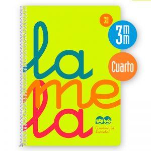 Cuaderno espiral cuarto 80 hojas, 90 grs. Cubierta polipropileno flúor. AMARILLO. Cuadrovía 3mm.