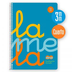 Cuaderno espiral cuarto 80 hojas, 90 grs. Cubierta polipropileno flúor. AZUL. Cuadrovía 3mm.