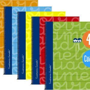 Cuaderno espiral FOLIO 80 hojas. Cubierta extra dura 5 COLORES SURTIDOS . Cuadrovía 3mm.