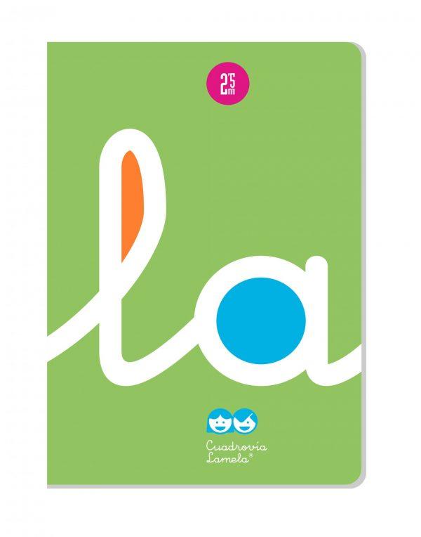 Libreta grapa A4 50 hojas. Cubierta cartoncillo plastificado. Cuadrovía 2,5mm.